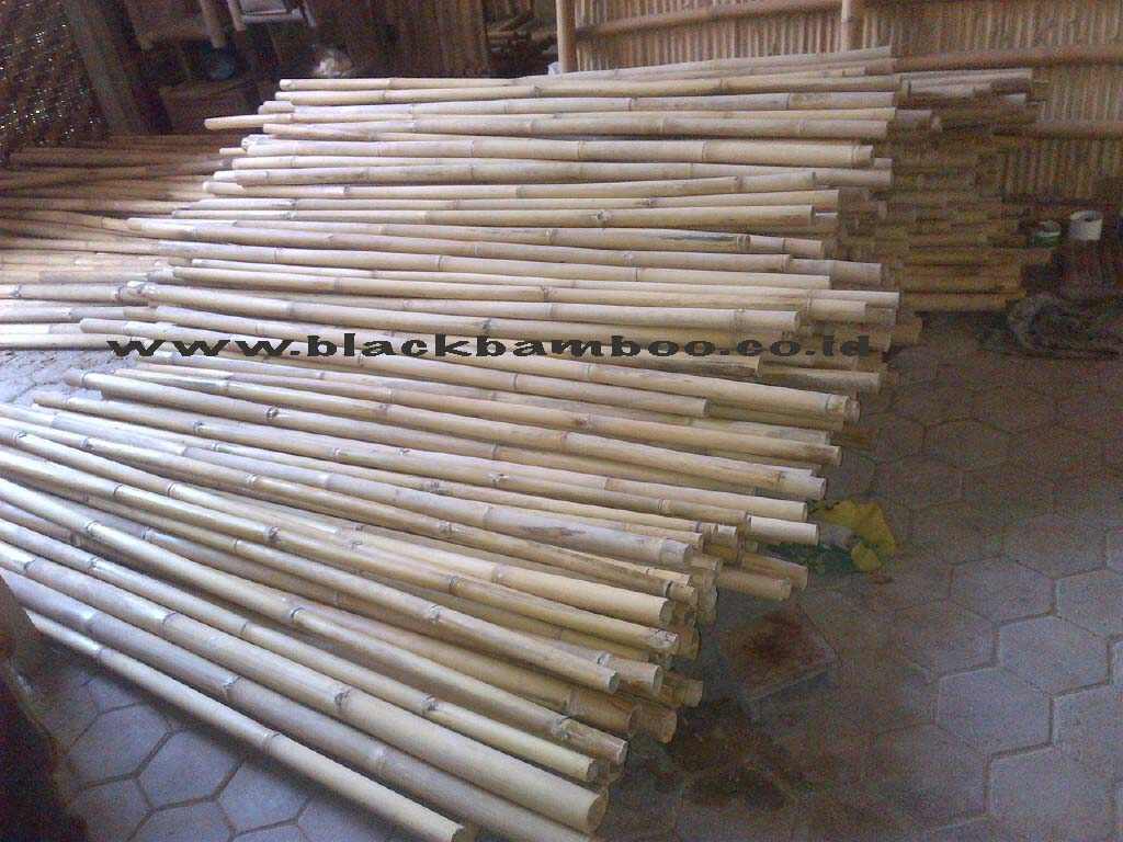 Natural and black bamboo poles
